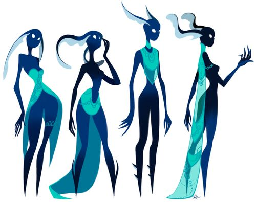Roughly following the same style as the last set of drawings, but more blue.