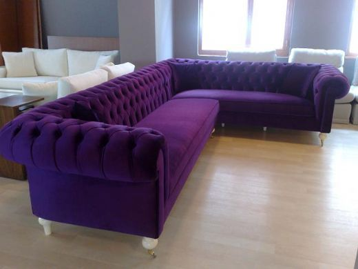 Bewitched tufted l shaped sofa for the home pinterest for Purple sofa