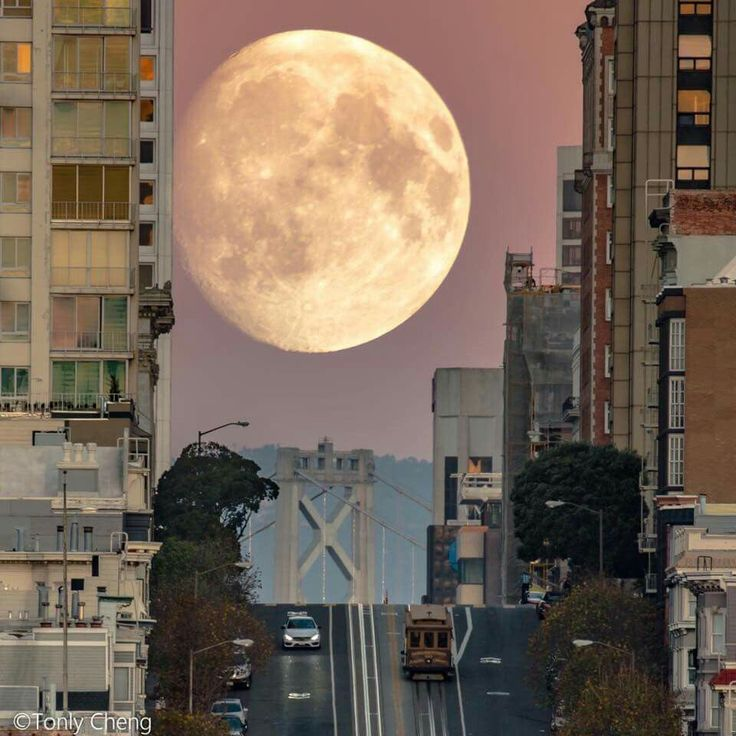 Supermoon rising over California Street in San Francisco by Tony Cheng - San Francisco Feelings