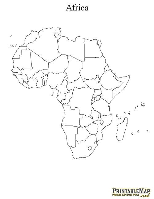 Printable Map Of Africa Continent Education Pinterest Africa