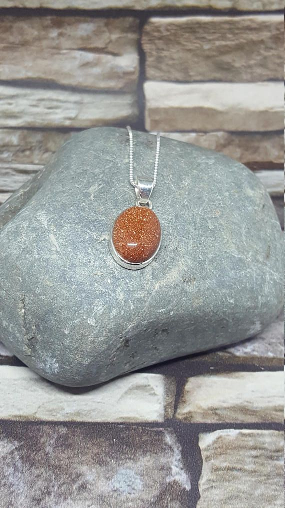Goldstone silver pendant statement pendant Crystal Healing