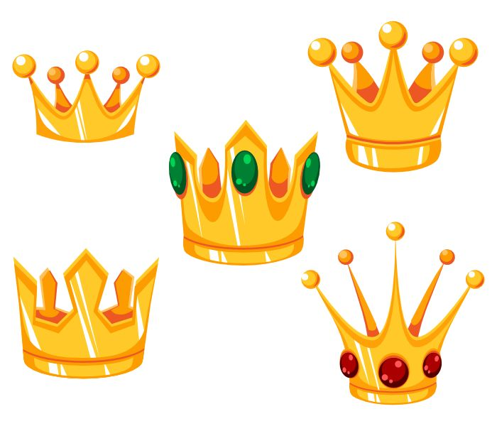 Crowns Pack contains:  1. Five types of crowns. You can find them in a source file (format: SVG, EPS). 2. Preview image of the pack with white background (format: PNG, size: 700x600px) 3. Readme.txt file