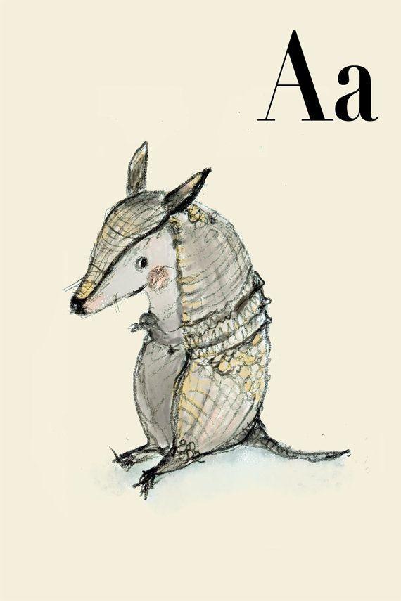 A für Armadillo - Alphabet Kunst Wandkunst - Alphabet drucken - ABC - ABC-Druck - Kinderzimmer - Kinderzimmer Dekor - Kinder Zimmer Dekor - ...