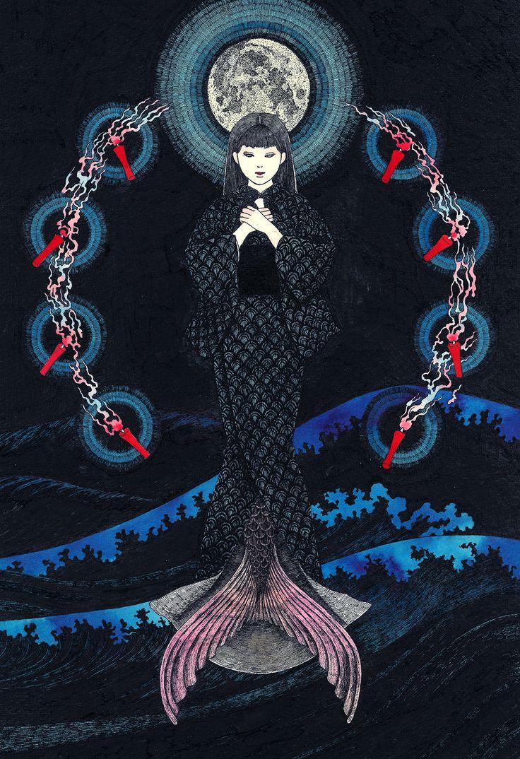小川未明の「赤い蝋燭と人魚」より #Illustration #イラストレーション #赤い蝋燭と人魚