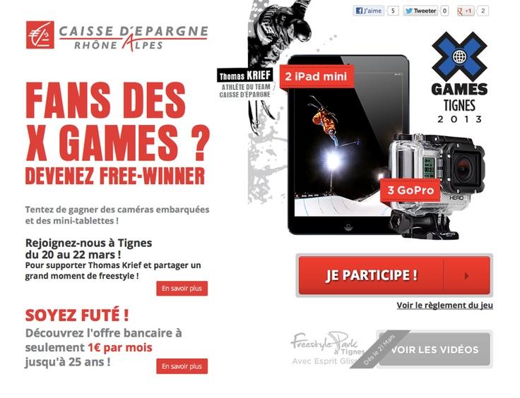 Dans le cadre des X Games 2013 à Tignes, des caméras Go Pro et des iPad Mini sont à gagner grâce à la Caisse d'Epargne Rhône Alpes Sport (partenaire de l'évènement) !  Tentez votre chance sur http://www.free-xperience.com/