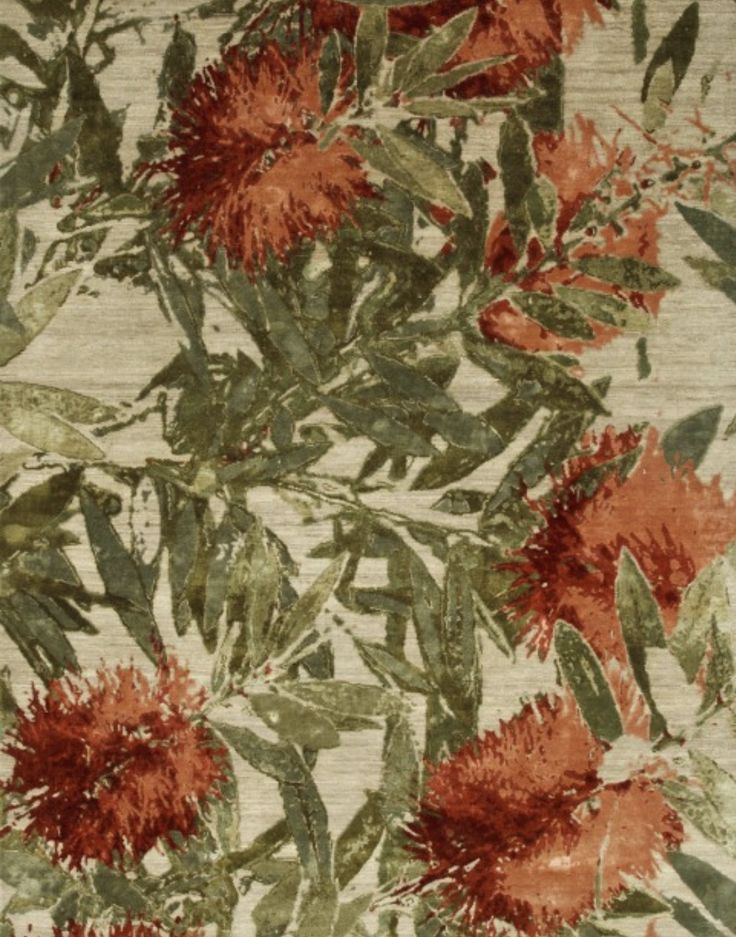 Jenny Jones Rugs - Wildflowers, Bottlebush hand knotted from handspun New Zealand wool and Chinese silk