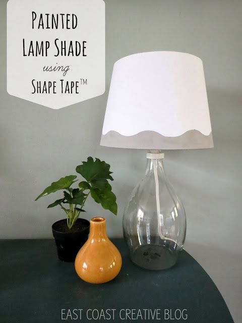 Shape tape painted lamp shade diy east coast creative blog decorating stuff i want to try - Creative lamp shades ...