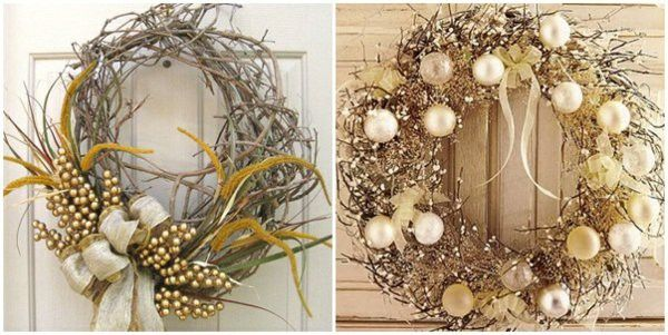 Golden wreath entrance door autumn decoration