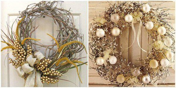Golden wreath entrance door autumn decoration