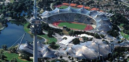 The Olympic Park in Munich - sight of the 1972 Olympic Games