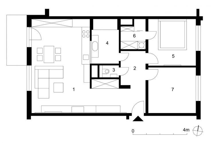 1 denná časť 39,2 m² 2 nočná chodba 5,2 m² 3 wc 1,3 m² 4 kúpeľňa 6,5 m² 5 spálňa 12,3 m² 6 šatník s práčkou 3,6 m² 7 pracovňa 12,0 m²