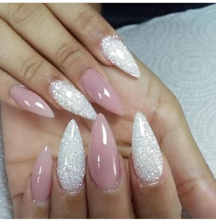 Pinkish/Nude gel Stilettos & glitter acrylics...