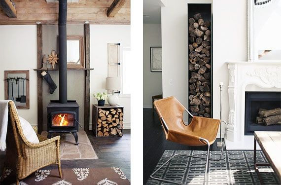 Le a como elemento decorativo junto a la chimenea le a - Como hacer chimeneas de lena ...