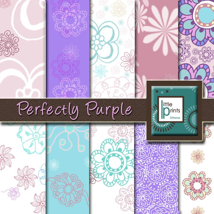 Digital Paper - Perfectly Purple, Digital scrapbook paper, purple flower paper, purple and teal, baby shower, invitation paper - pinned by pin4etsy.com