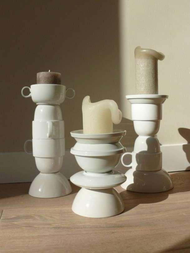 Doe het zelf kandelaar van servies - Woontrendz Diy candle from old cups. Woontrendz