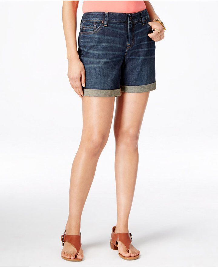 Tommy Hilfiger Tommy Hilfiger Dark Wash Cuffed Denim Shorts – Modest shorts – #C…