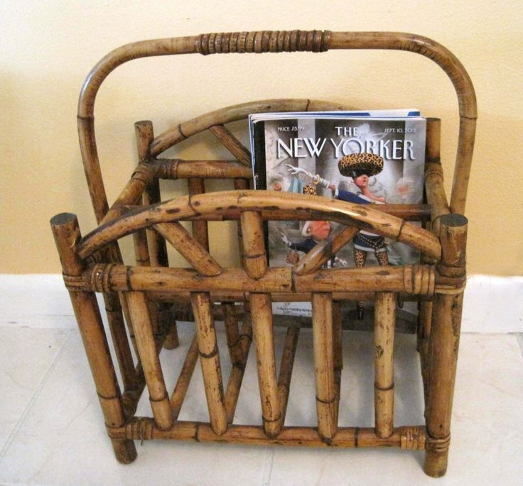 Vintage Bamboo Magazine Rack, Gorgeous Dark Patina, Bamboo Rattan LP Storage, Tropical Decor, Magazine Holder Home Decor Rustic Florida Room by SharetheLoveVintage on Etsy