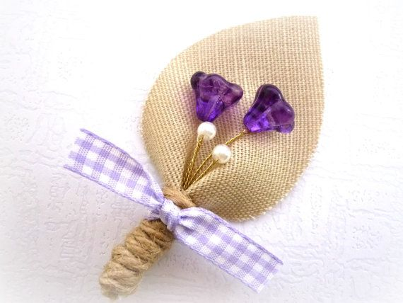 Beige Burlap Wedding Men Accessories Purple