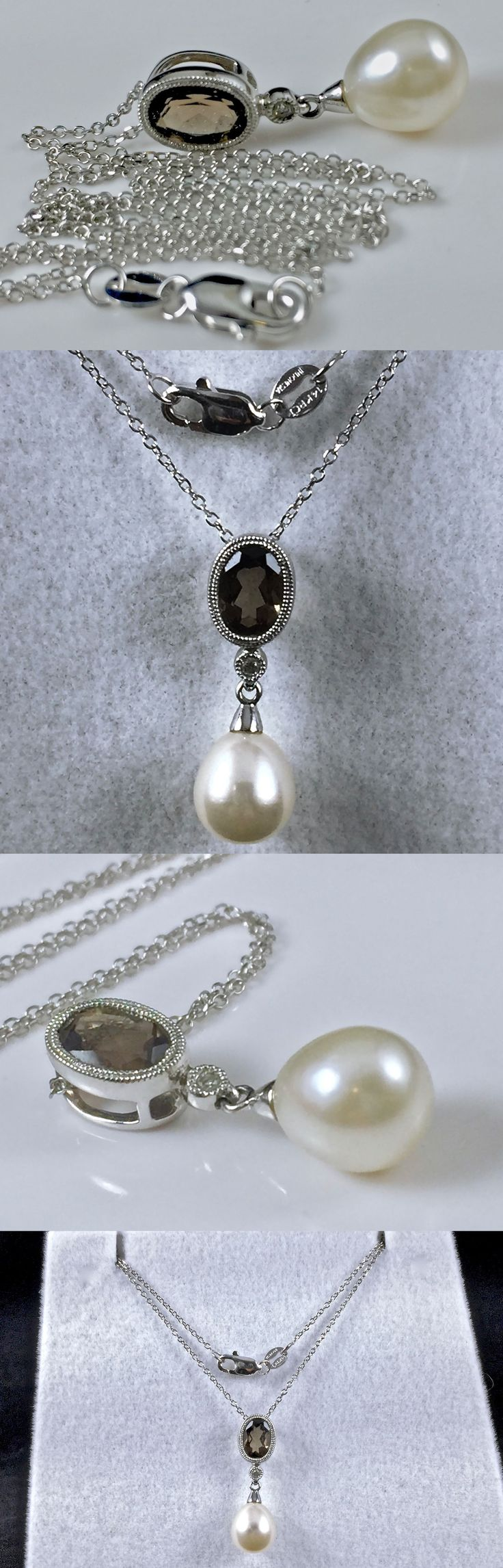 Pearl 164333: 14K White Gold Chain Necklace W/ White Cultured Pearl Quartz Diamond Pendant 16 -> BUY IT NOW ONLY: $98.0 on eBay!