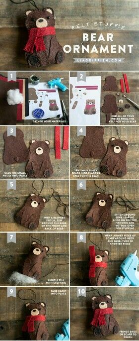 Patterns for Bear plus other woodland animal Ornaments.