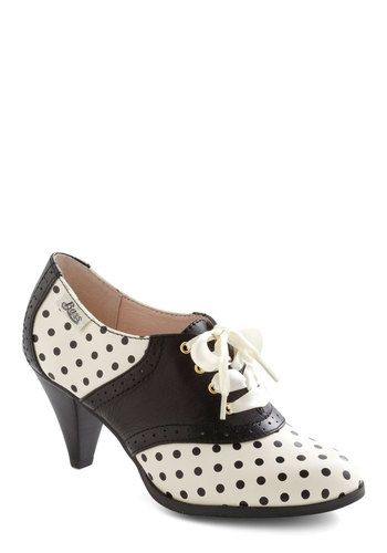 Dress like Tina Cohen-Chang: rachel antonoff for bass saddled with sweetness heel in dots $108.99 from Modcloth
