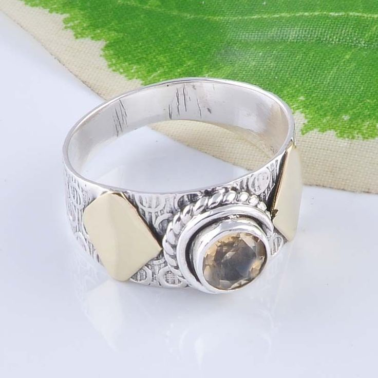 925 SOLID STERLING SILVER EXCLUSIVE LADIS CITRINE CUT RING 4.37g DJR2460 S-9 #Handmade #Ring