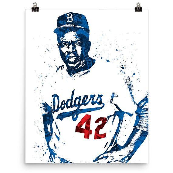 Jackie Robinson Brooklyn Dodgers Poster Sports Art Print Baseball Poster Kids Decor Man Cave Jackie Robinson Sports Art Print Baseball Posters