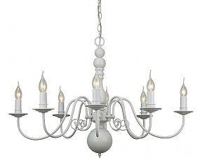 Landelijke Hanglamp Kroonluchter wit Ovaal 90x62cm 8 lampjes