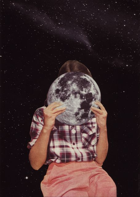 Girl and moon.