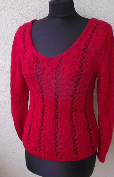 Sweaters & Vests – Red Knitt Top – a unique product by Weroniq on DaWanda