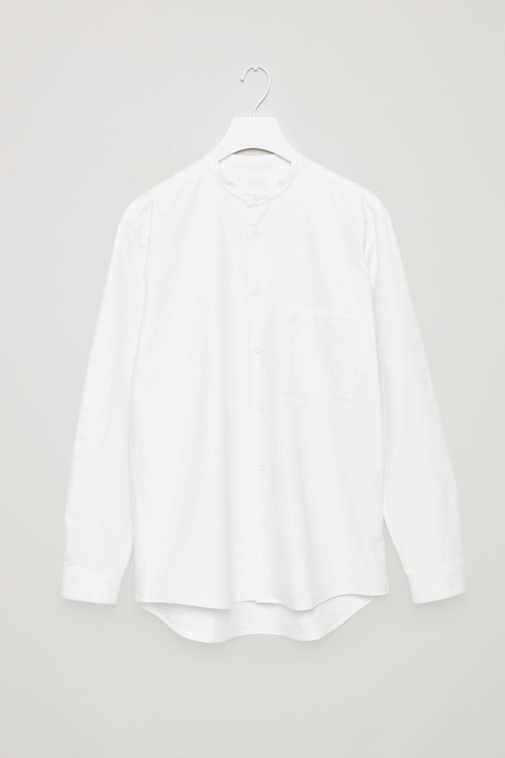 Button-down grandad collar shirt in White