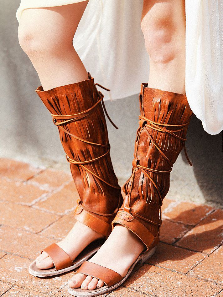 2016 Fashion Summer Shoes Women Flats Knee High Boots Tassel Sandals Vintage Gladiator Sandals Women Fringes Boots for Women alishoppbrasil