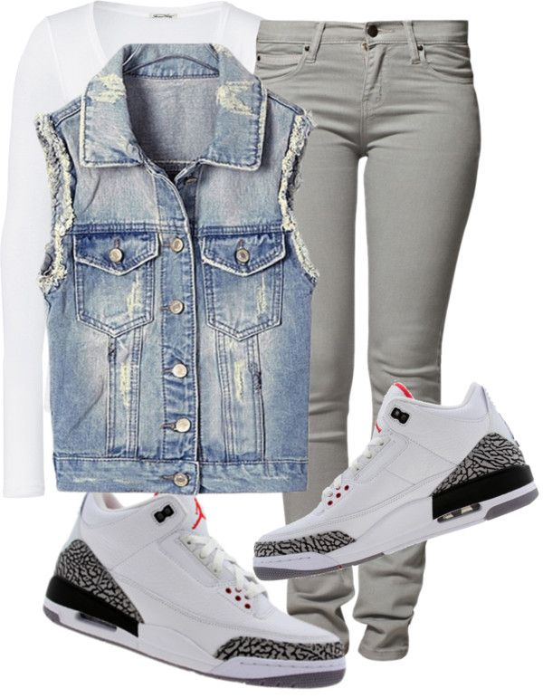 """""""That Jordan Girl"""" by fashionsetstyler ❤ liked on Polyvore -screw everyone that doesn't like denim vests."""