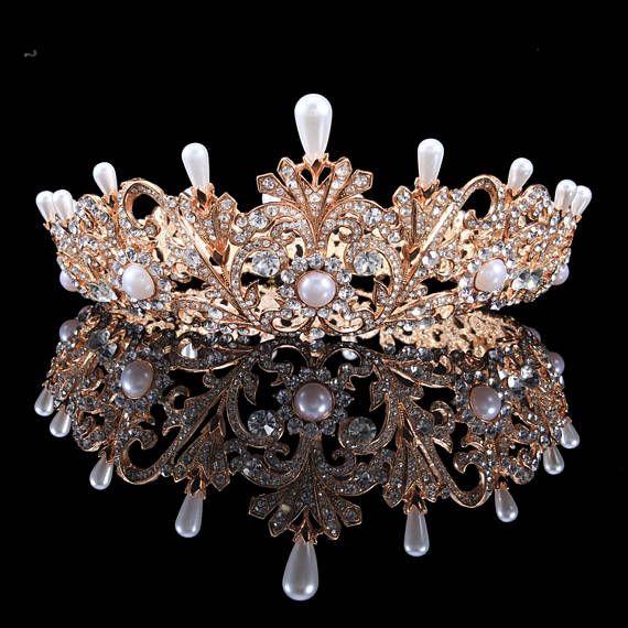 Full Bridal Crown with Pearls- ALEXANDRA Swarovski Crystal Wedding Crown, Crystal Wedding Tiara, Diamante Tiara, Bridal Tiara ,Gold crown