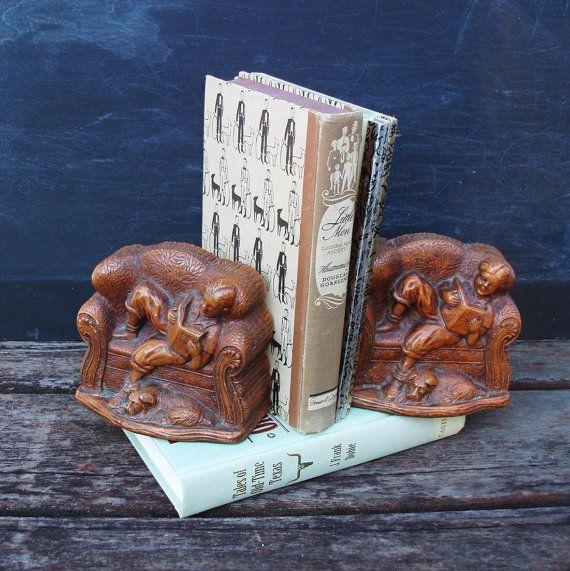 Vintage Kinder Buchstützen Kindergarten Buch enden Boys Raum Buch Inhaber junge und Hund Lesen Nook Dekor