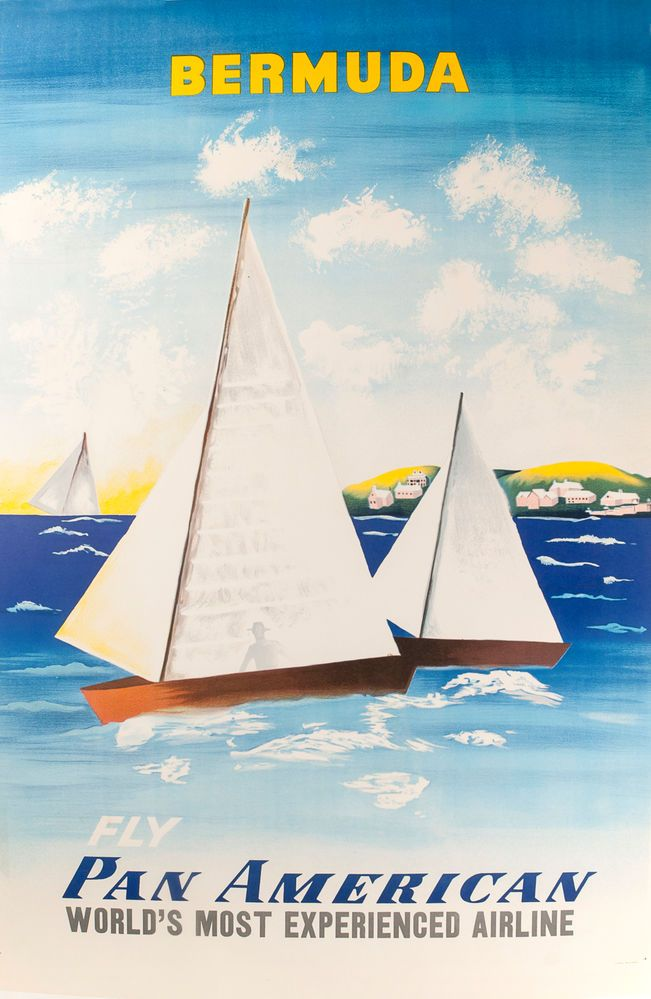 Bermuda, Fly Pan American, World's most experienced airline. Travel Poster.