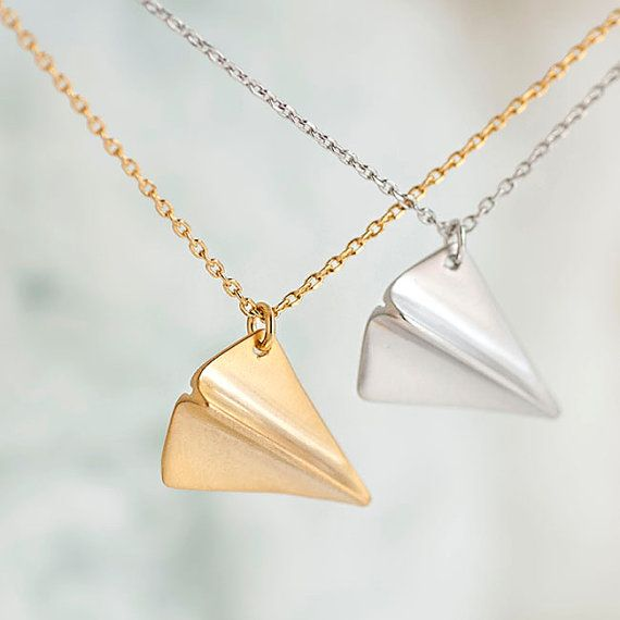 Paper Airplane Necklace Gold / Silver Origami Aeroplane