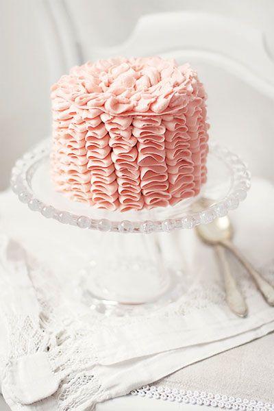 Wedding Ideas: pink-ruffled-icing-wedding-cake-small-elegant