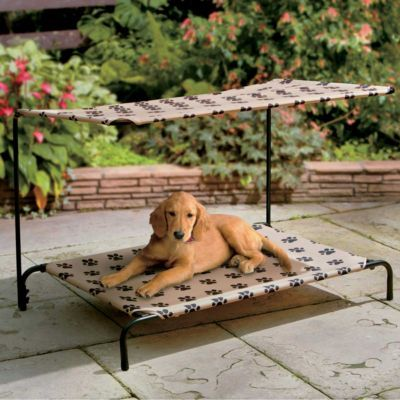 Indoor Outdoor Dog Bed! Ideally, these would fold up completely for camping purposes, then no need for the pups to lay in the dirt!
