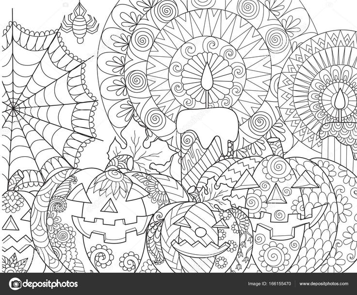 Descargar - Para colorear Halloween calabaza — Ilustración de stock