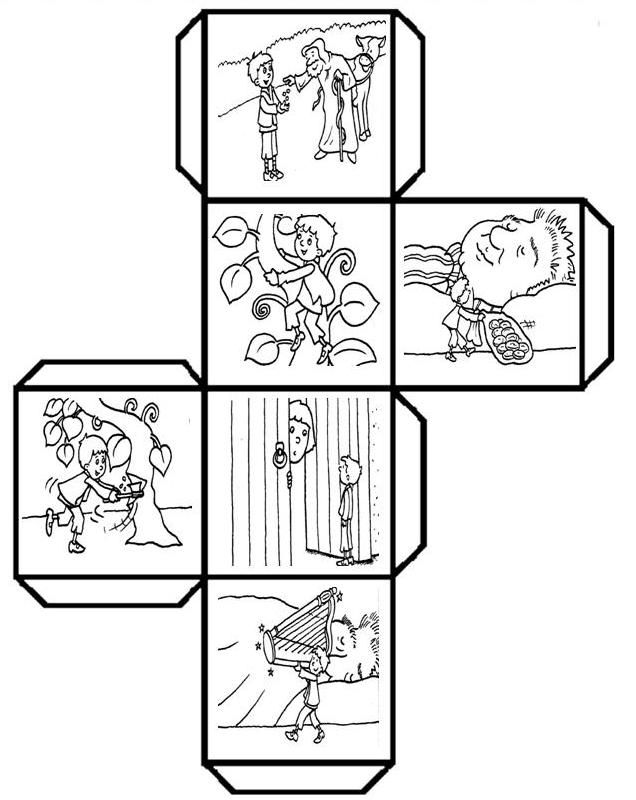 "Have students color, cut, fold, and paste to make a story cube that can be used to retell ""Jack and the Beanstalk"" and talk about 3D shapes. (K.RL.2) (K.G.5) Leave a comment if you would like to see other story cubes. I have fun creating these templates! (Free printable template attached) CUBO CUENTA JACK Y LAS HABICHUELAS"