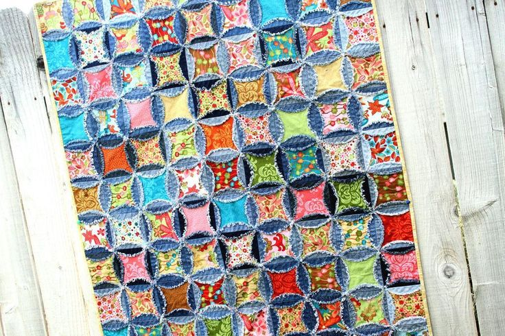 Denim Circle Rag Quilt Recycled Jeans Twin Quilt