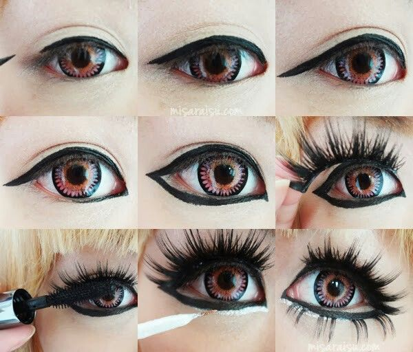 KAWAII GYARU EYE MAKEUP more dramatic compared to others