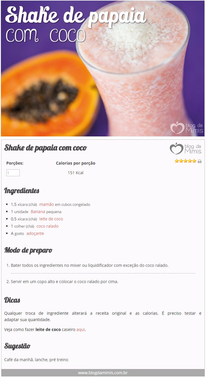 Shake de papaia com coco - Blog da Mimis #shake #detox #emagrecedor #papaia #mamão #coco #fibras #lanche #alimentação #receita