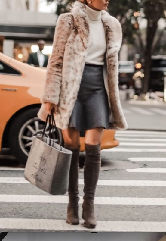 Womens Street Style Inspiration - Click to Shop this EXACT Cream Faux Fur Coat | Womens Street Style Fashion | Womens Chic Winter Outfits 2017 | Grey Over the Knee Boots Outfits | Brown Faux Fur Outfits | Winter Fashion Outfits | White Faux Fur Coat Outfits