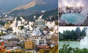 The Japanese town of Beppu on the island of Kyushu is perpetually shrouded in steam thanks to thousands of hot spring vents that eject over 130,000 tons of scalding water on a daily basis.