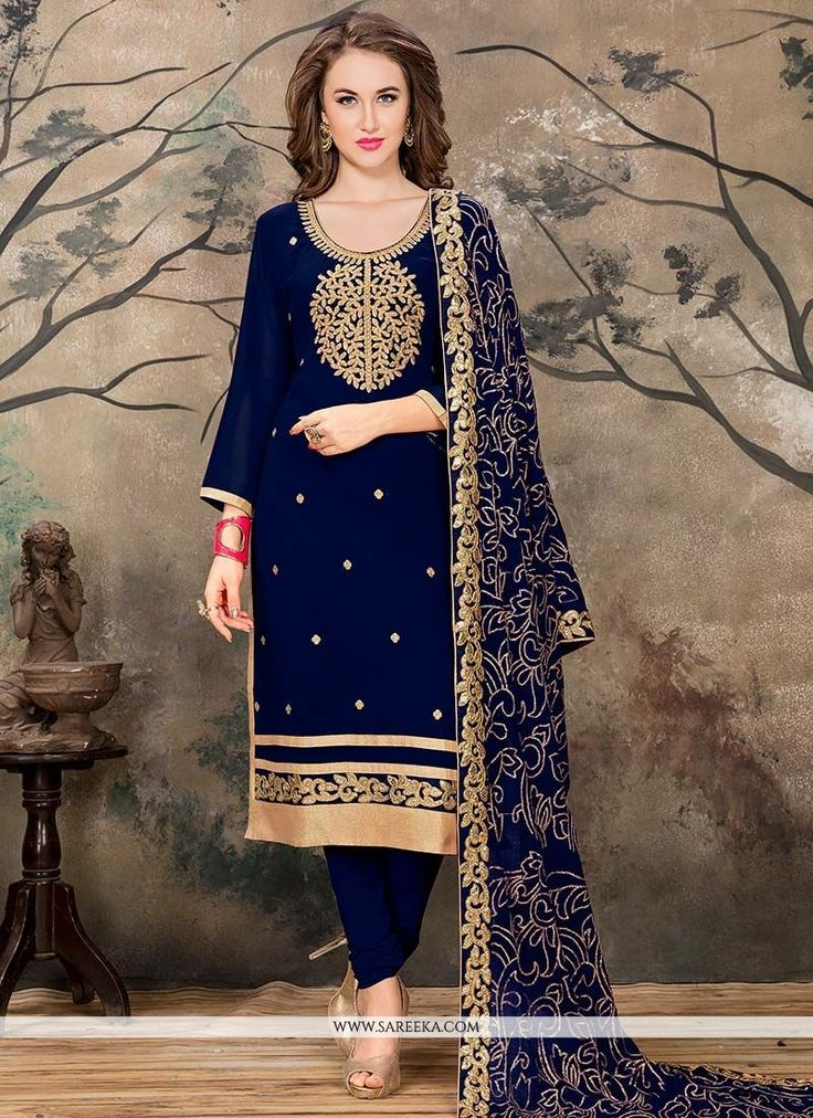 This navy blue faux georgette churidar designer suit is including the appealing glamorous showing the feel of cute and graceful. The ethnic embroidered and lace work over a attire adds a sign of splen...