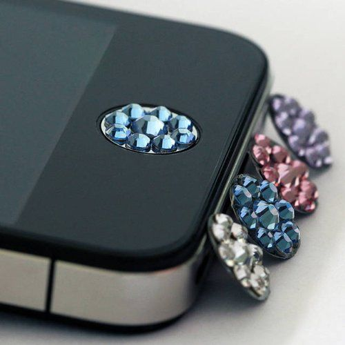 one piece blue Bling Rhinestone iPhone Home Button Sticker in clear plastic bag $4.99