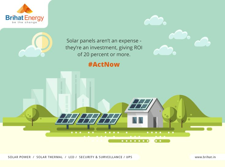 Solar panels aren't an expense - they're an investment, giving ROI of 20 percent or more. #ActNow  Visit: http://goo.gl/n6B95m