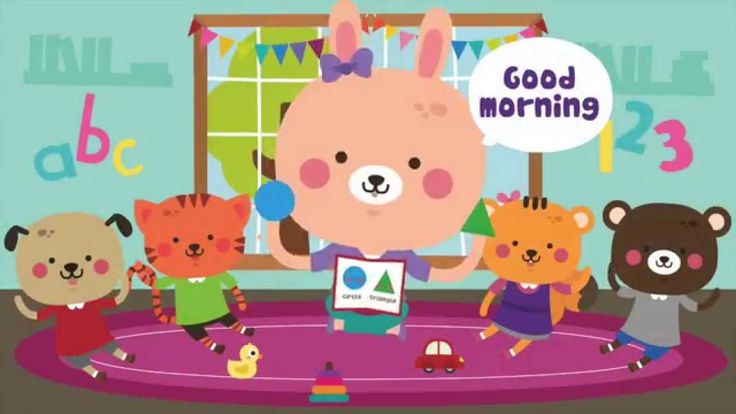 """Good Morning!"" is a great circle time song for preschool.  It's a  super fun way to start class. It introduces the question ""How are you?"" and simple greeting words.  #preschool #circletime #kidsongs"
